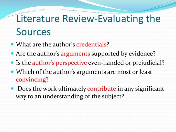 sources of literature review ppt