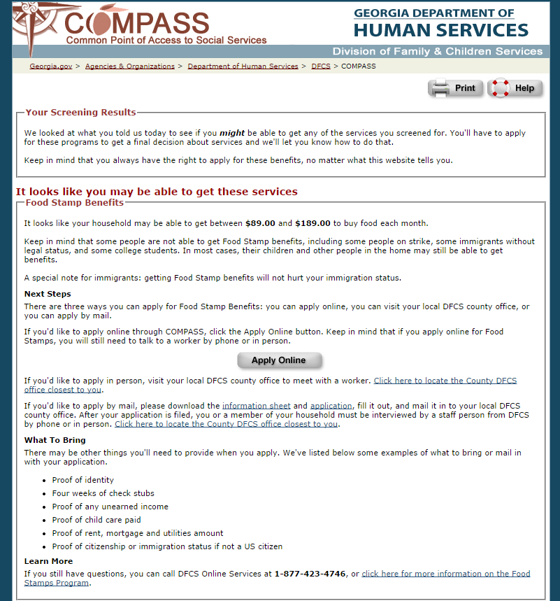 www compass ga gov food stamps review